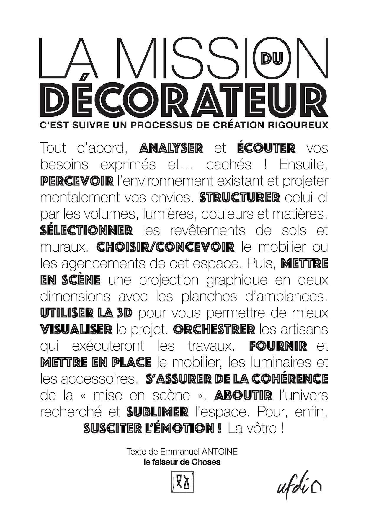 La mission du décorateur par Emmanuel ANTOINE, membre UFDI Bretagne